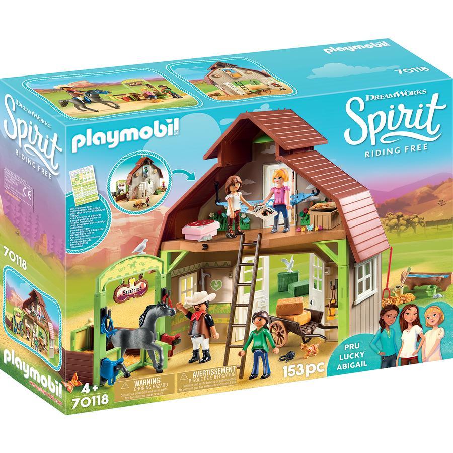 PLAYMOBIL® Spirit Riding Free Stall mit Lucky, Pru und Abigail 70118