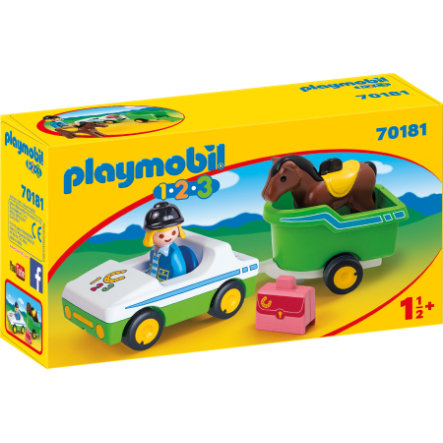 PLAYMOBIL® 1 2 3 PKW mit Pferdeanhänger 70181