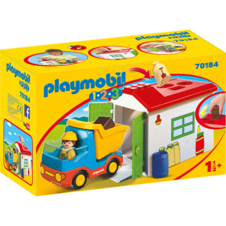 PLAYMOBIL® 1 2 3 Kuorma-auto ja autotalli 70184