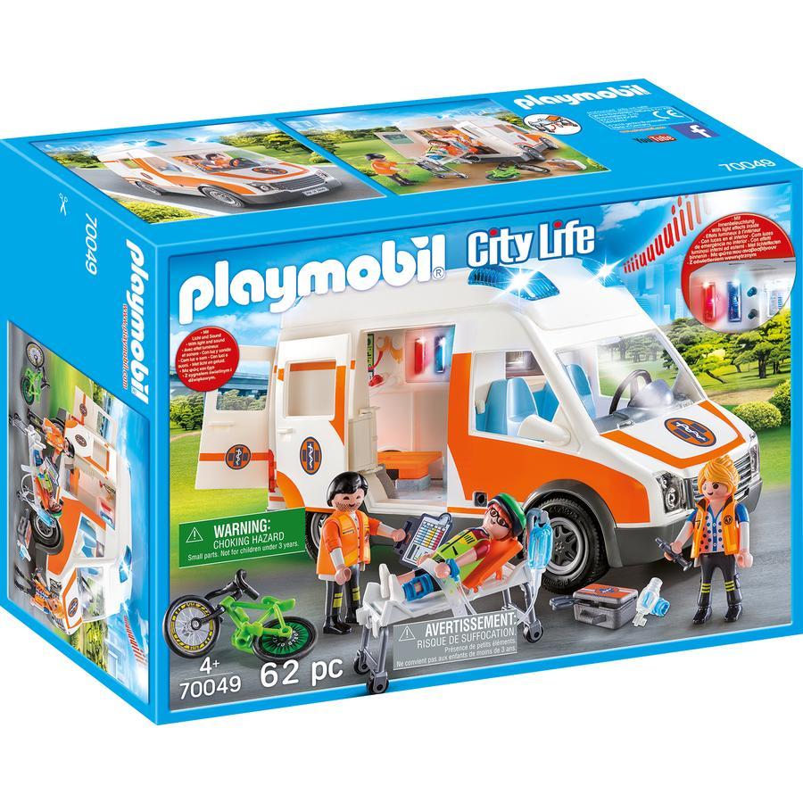 PLAYMOBIL City Life ambulance avec lumière et Sound 70049