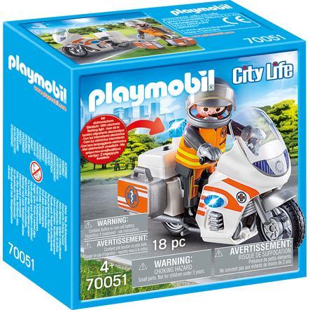 PLAYMOBIL Moto médicale d'urgence City Life avec feu clignotant 70051