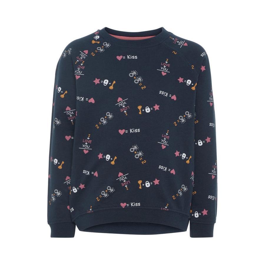 name it Girl Sweatshirt z ciemnego szafiru AOP