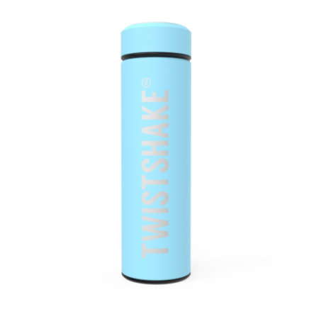 """Twist shake Thermo fles """" """" """" Hot or Cold """" 420 ml pastel l blauw"""