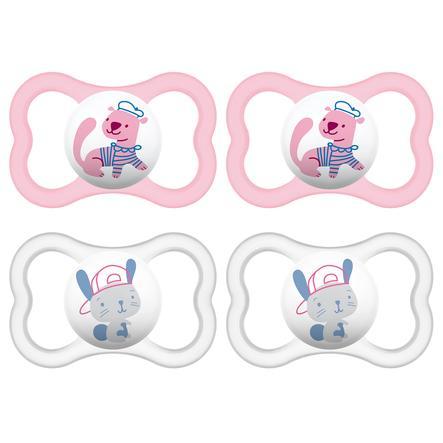 MAM Schnuller Air rosa/ weiß 6 - 16 Monate Latex 4 Stück