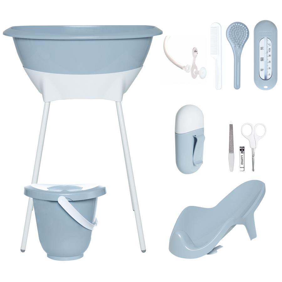 Luma® Babycare Bañera y set de cuidados gris azul celeste