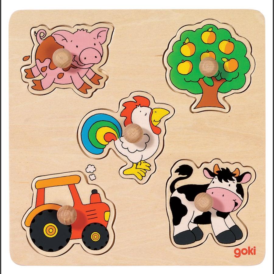 goki Puzzle à enficher à la campagne basic bois 5 pièces