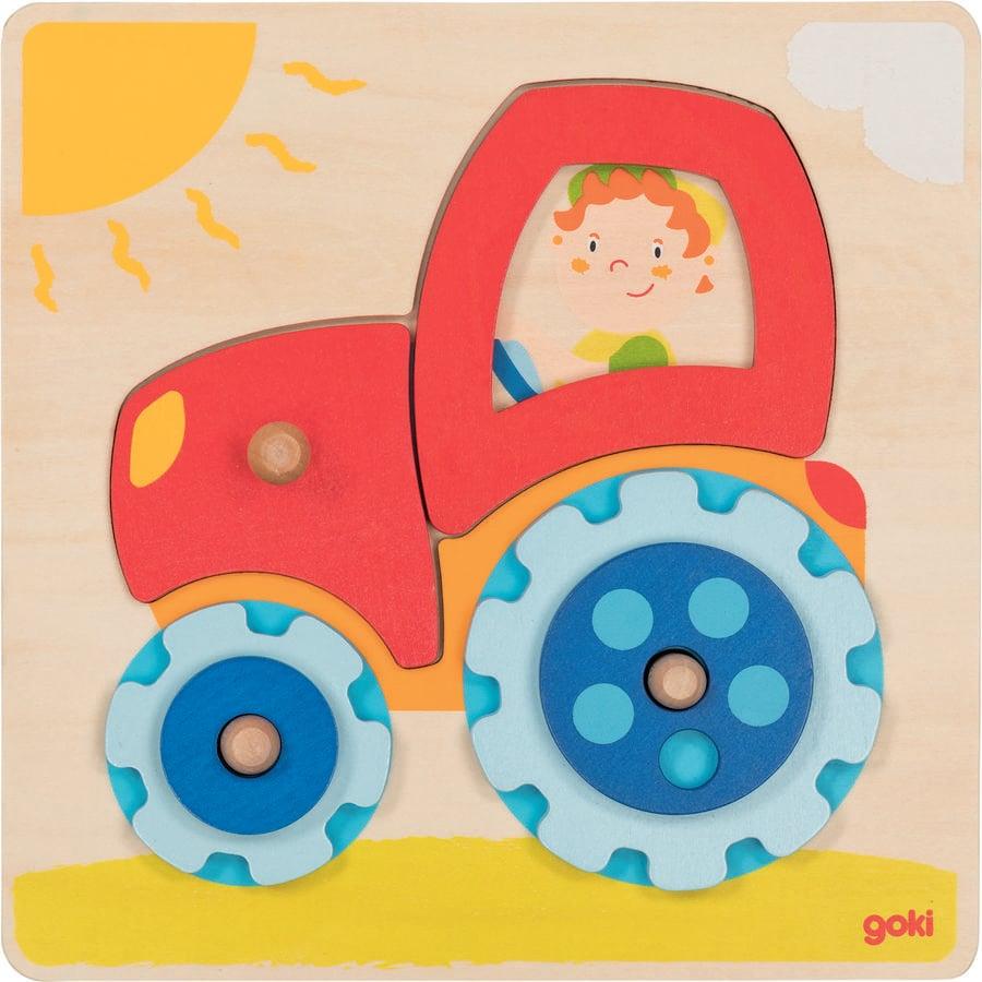 goki Puzzle de juguete tractor, 6 piezas