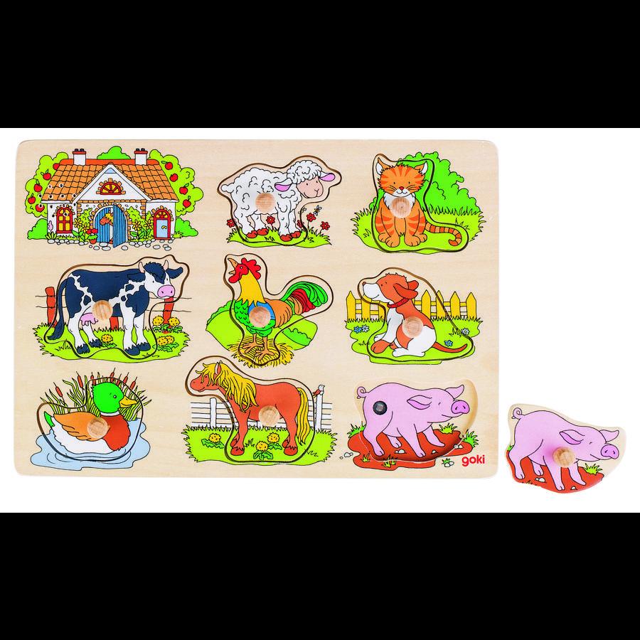 goki Puzzle sonore ferme cris d'animaux, bois 8 pièces
