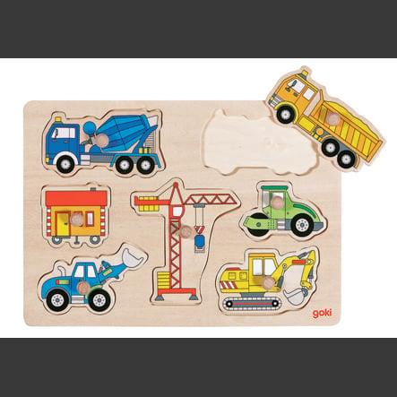 goki Steckpuzzle Baufahrzeuge, 7 Teile