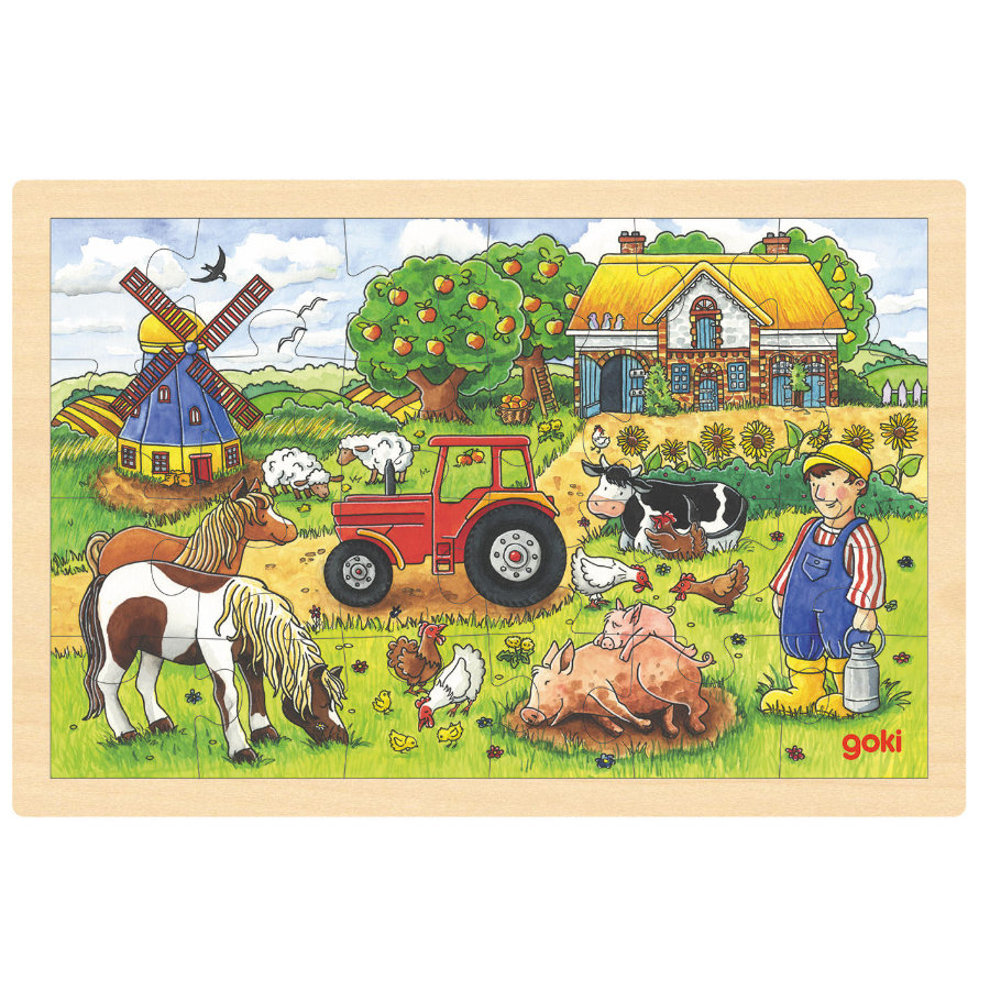 goki Puzzle inlay Müllers Farm, 24 pezzi