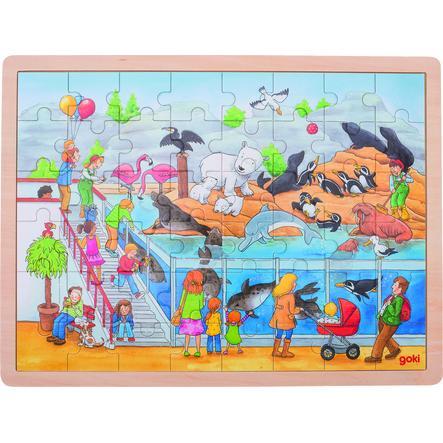 goki Excursion au zoo avec incrustation de puzzle, 48 pièces