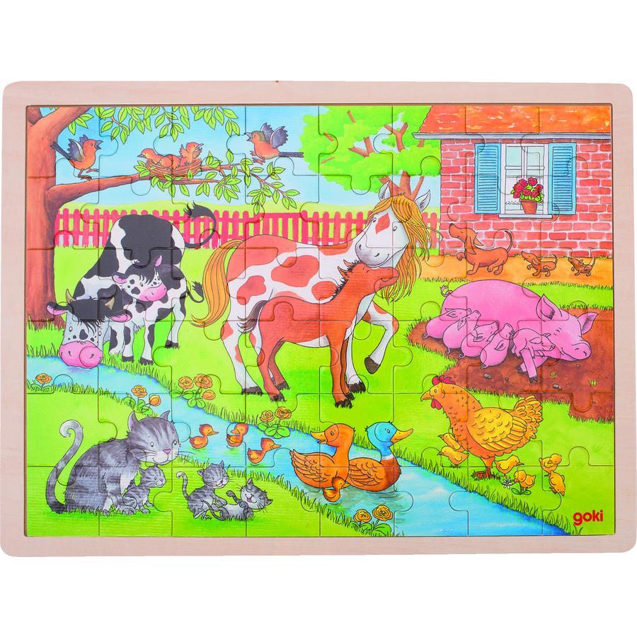 goki Incrustation Puzzle Living on the farm, 48 pièces