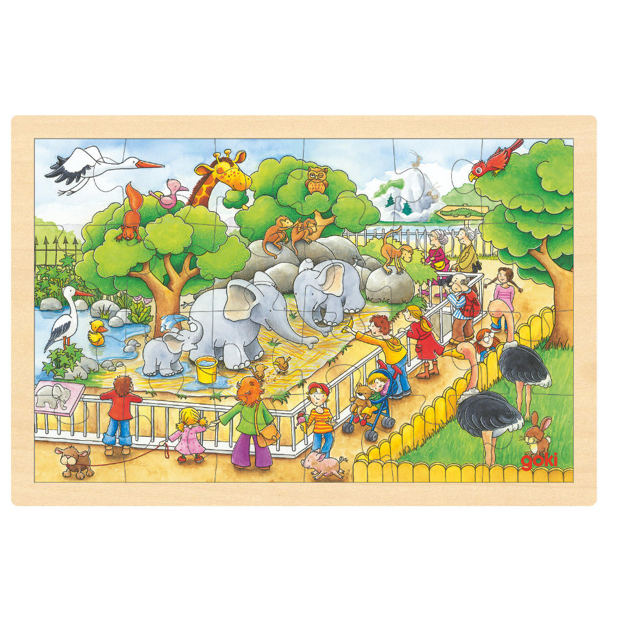 goki Einlegepuzzle Zoobesuch,  24 Teile