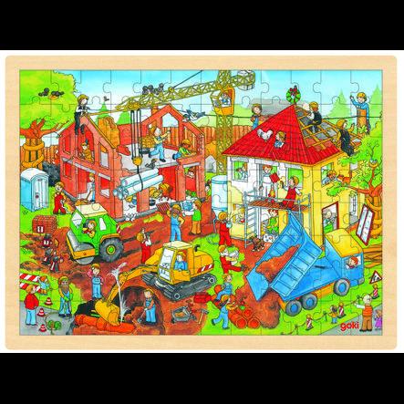 goki Einlegepuzzle Baustelle, 96 Teile