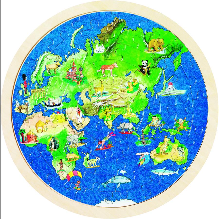 goki Einlegepuzzle Weltkugel, 57 Teile
