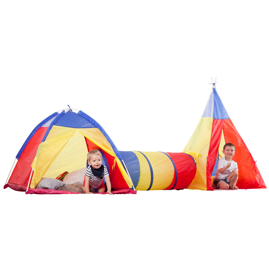 beluga Tunnel enfant iglou tipi 3 en 1 jaune/orange