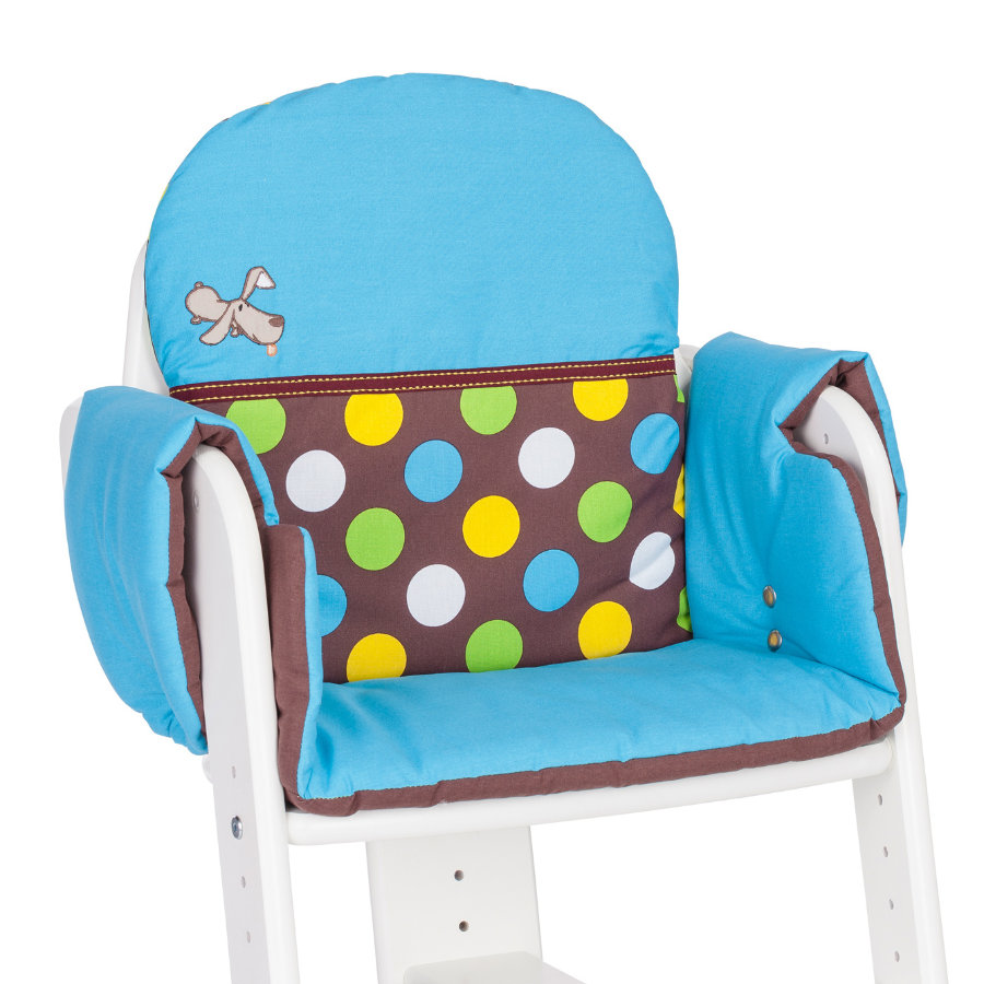 HERLAG Seat Pad for High Chair Tipp Topp IV WALDI blue/brown dots