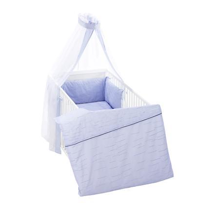 Alvi® Parure de lit enfant rayures bleue, 3 pièces 100x135 cm