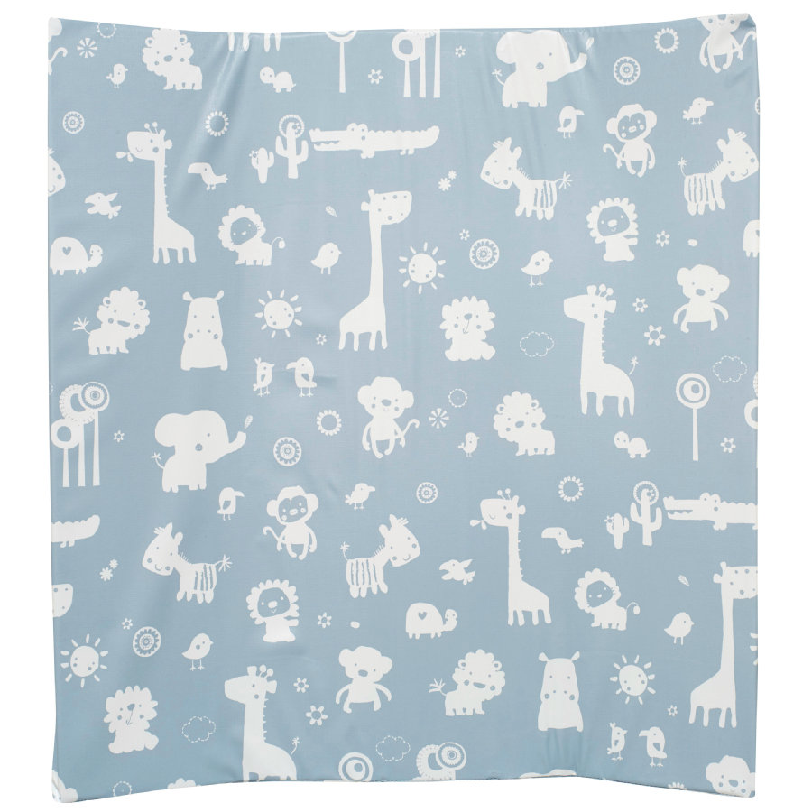 Alvi materassino per fasciatoio con bordi rialzati , zoo carta da zucchero silver 68 x 60 cm