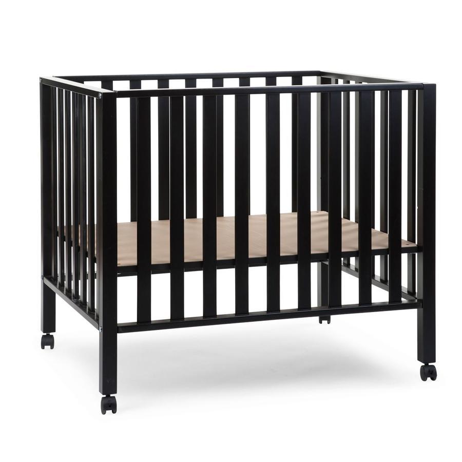 CHILDHOME Parc bébé roulettes 94 hêtre noir 75x95 cm