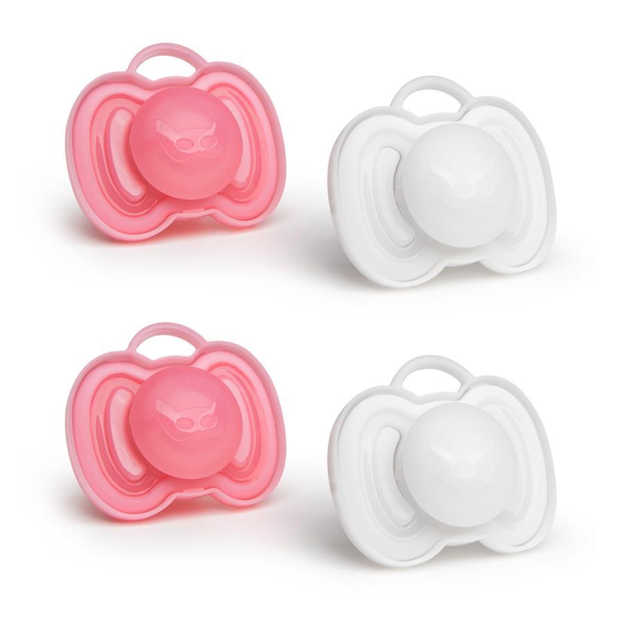 Herobility Sucette orthodontique HeroPacifier 6 m+ rose/blanc lot de 4