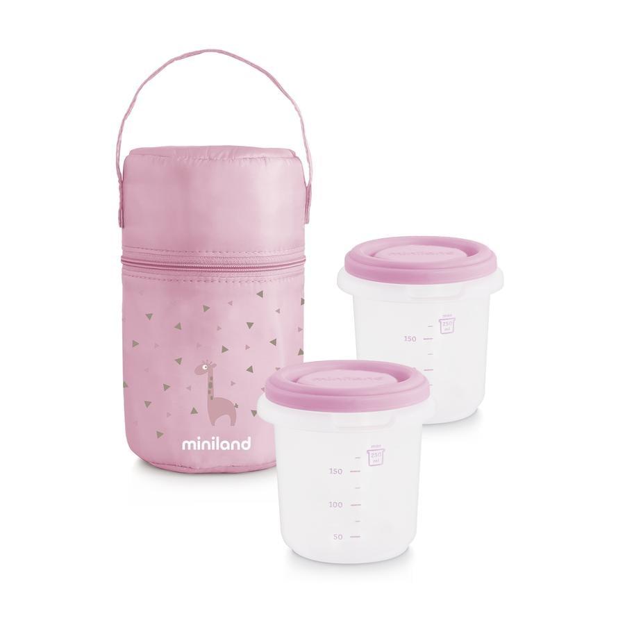 miniland pack-2-go hermisized kontejner na potraviny s oteplovací taškou růžovou