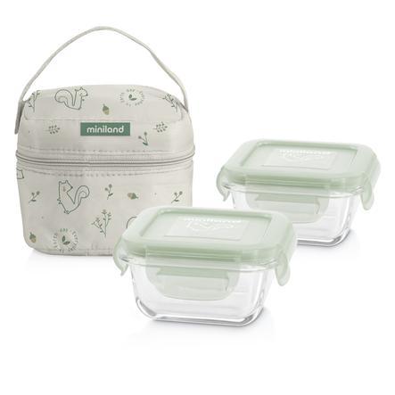 Miniland pack-2-go přírodní čtverec s izolační taškou zelenou