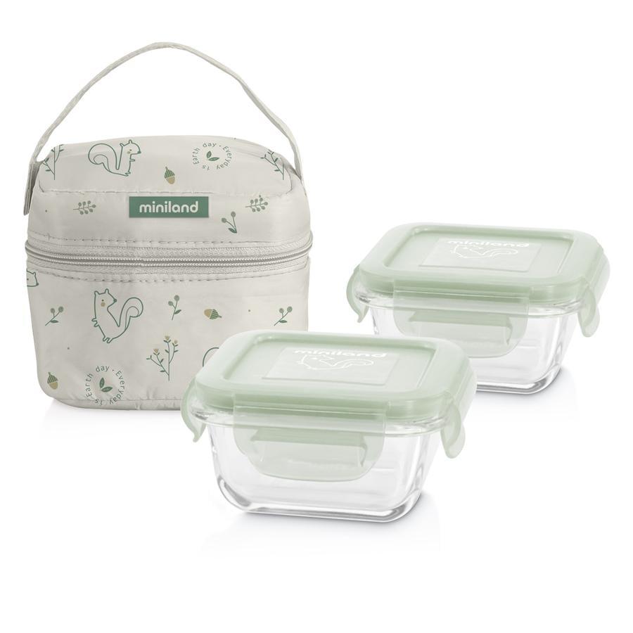 miniland pack-2-go naturSquare met isolerende tas groen