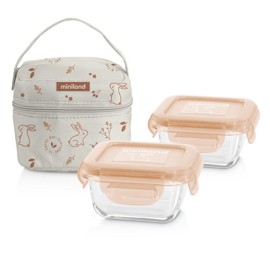 miniland Pot conservation repas bébé pack-2-go naturSquare, sac isotherme orange