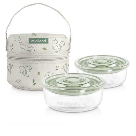 miniland pack-2-go naturRound con borsa isolante verde