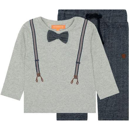 STACCATO Boys Conjunto camisa y pantalones de jogging gris cálido mélange