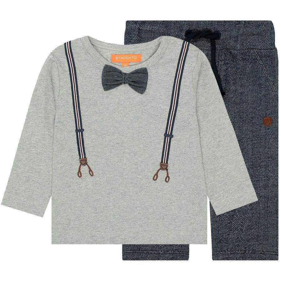 STACCATO boys sett skjorte og joggebukse varm grå melange
