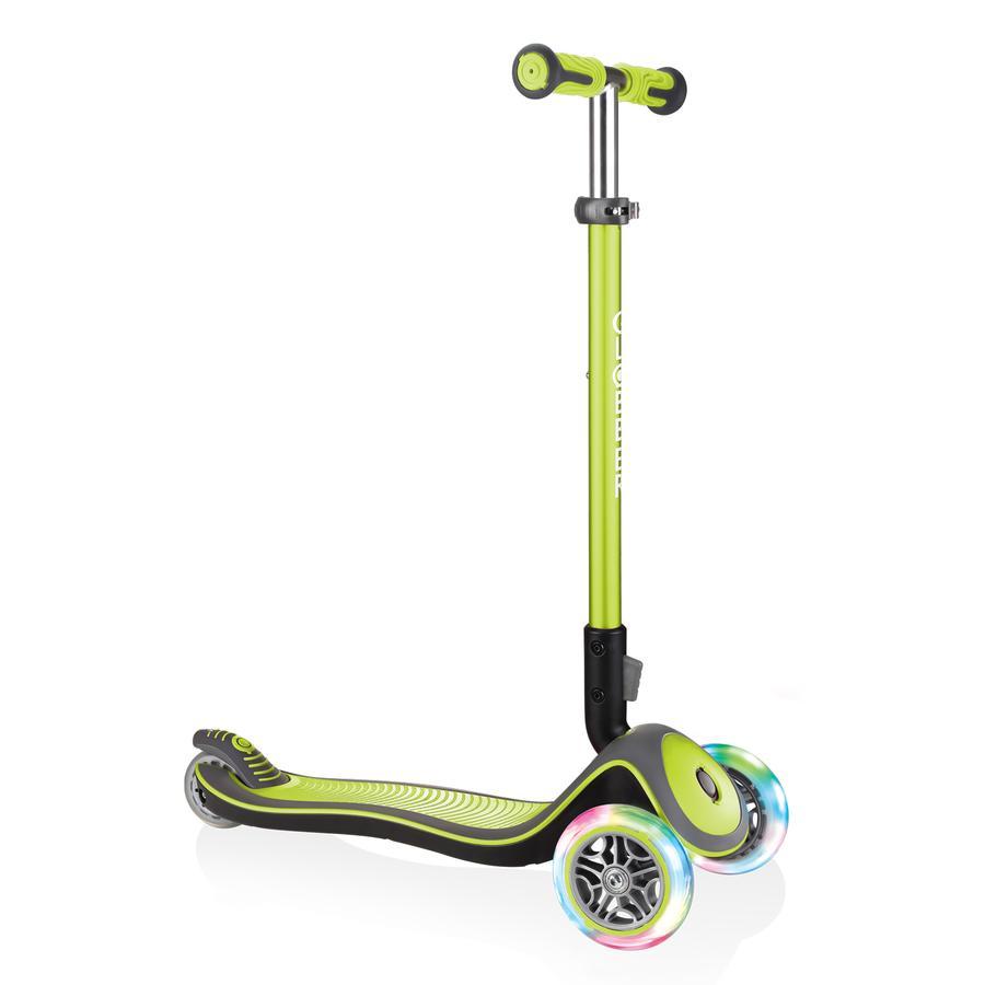 GLOBBER Scooter ELITE DELUXE LIGHTS lime grün, mit Leuchtrollen