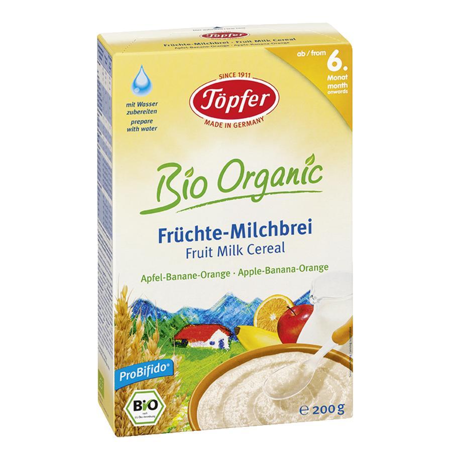 Töpfer Bio Milchbrei Früchte Apfel, Banane, Orange 200 g ab dem 6. Monat