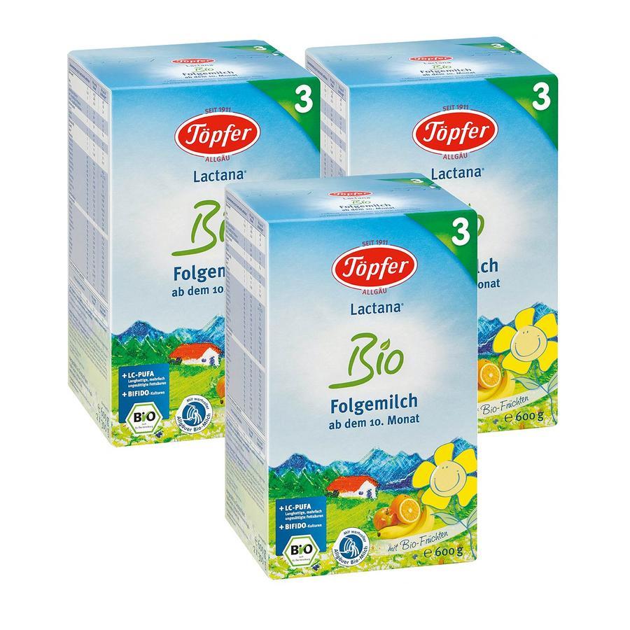 Töpfer Bio Folgemilch Lactana 3 x 600 g ab dem 10. Monat