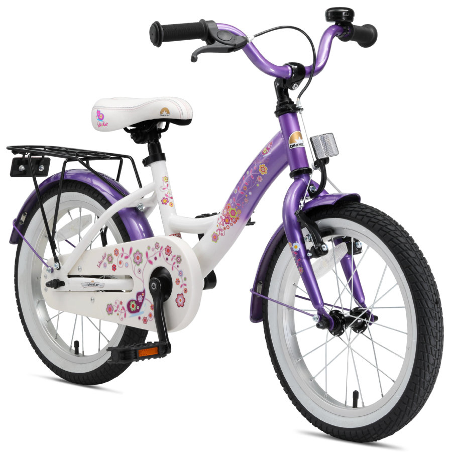 "bikestar Bicicletta Premium 16"" Candy viola Diamant bianco"