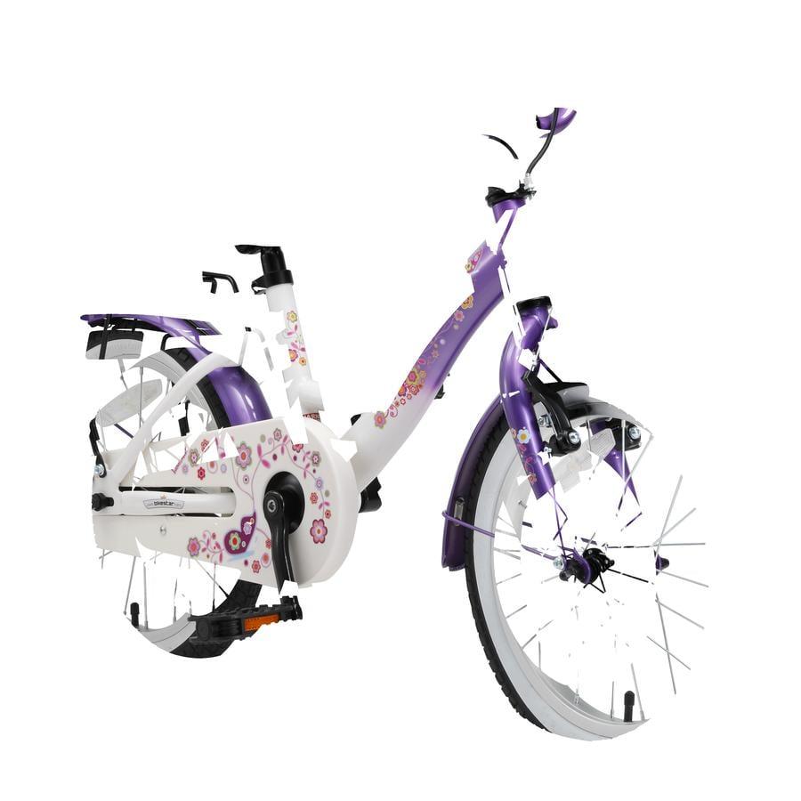 bikestar® Lasten polkupyörä Premium 16'' Classic, lila-valkoinen