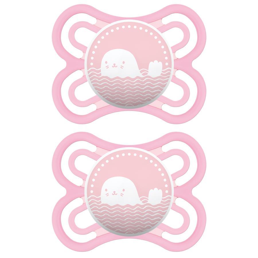 MAM fopspeen Perfect 0 - 6 maanden in roze Silicone 2 Stuks