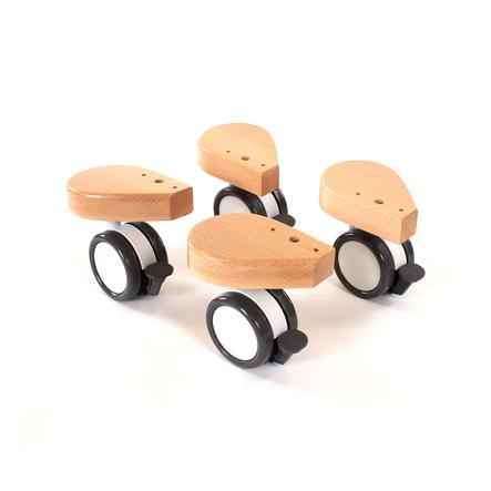 babybay Kit roulettes pour lit cododo spécial laqué naturel