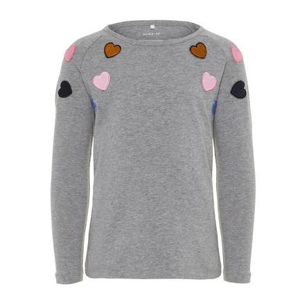 name it Girl s camisa de manga larga gris mélange