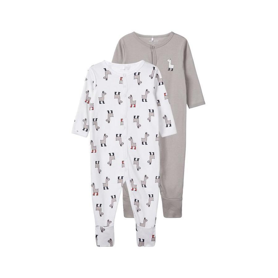name it Pyjama enfant coton lama, blanc lot de 2
