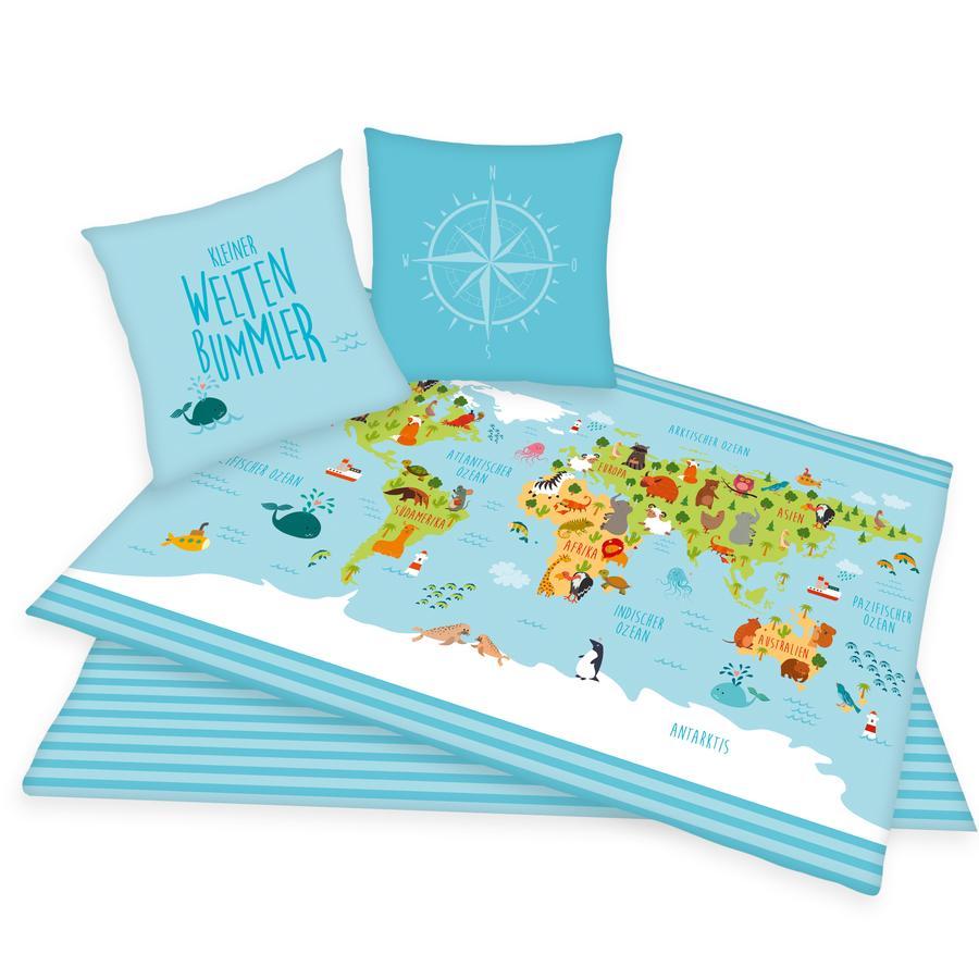 HERDING Parure de lit carte du monde 135x200 cm bleu