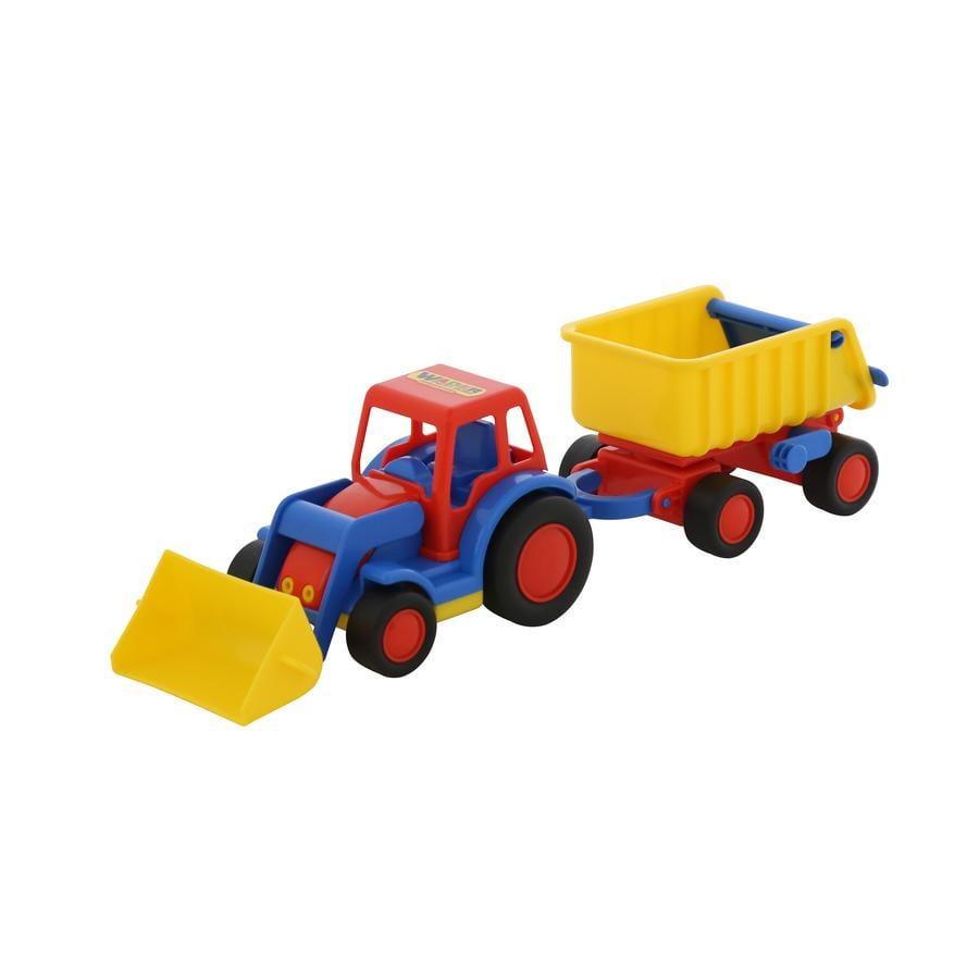 WADER QUALITY TOYS Basics - Traktori, kauha ja peräkärry