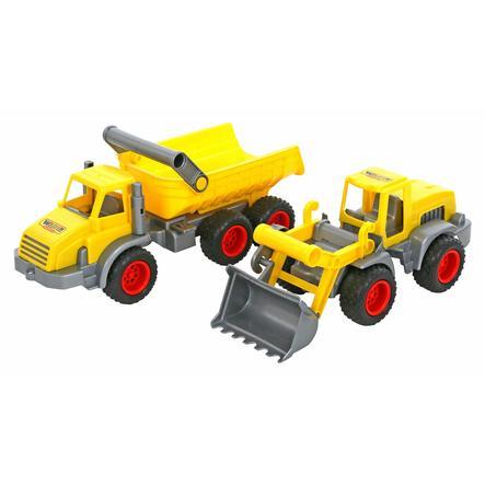 WADER QUALITY TOYS Anleggsbil - 3-akslet tipp og spader