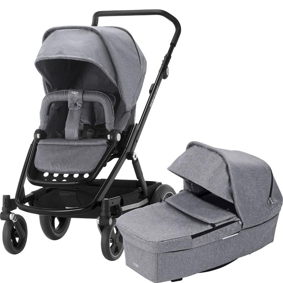Britax Set de cochecito Go Next² Grey melange Chásis negro y Portabebés Baby-Safe² i-Size Storm Gris