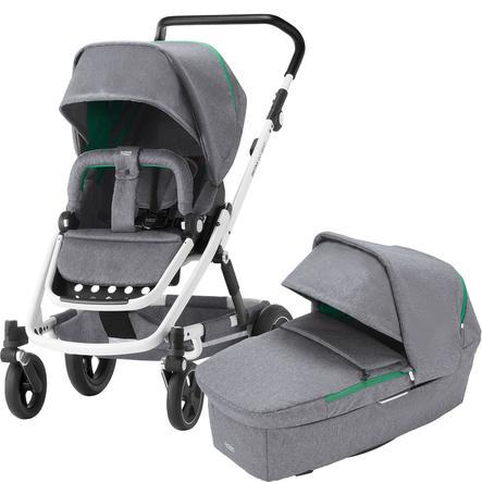 Britax Kombikinderwagen Go Next² Dynamic Grey Gestellfarbe White und Babyschale Baby-Safe² i-Size Black Marble