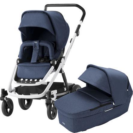Britax Kombikinderwagen Go Next² Navy Melange Gestellfarbe White und Babyschale Baby-Safe² i-Size Moonlight Blue
