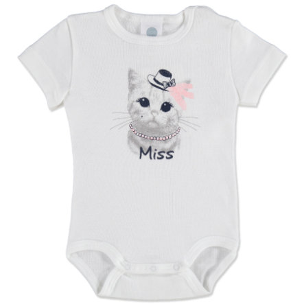 SANETTA Girls Baby Body 1/4 Manica CAT bianco
