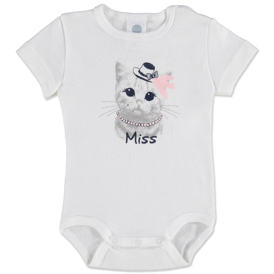 SANETTA Girls Baby Body 1/4 Arm CAT weiß