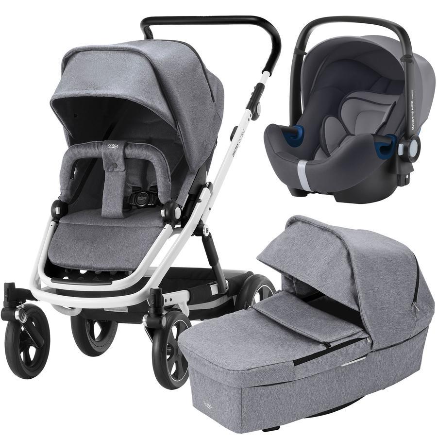 Britax Kinderwagenset Go Big² mit Aufsatz Go Grey Melange Gestellfarbe White und Babyschale Baby-Safe² i-Size Storm Grey